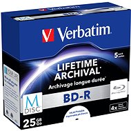 VERBATIM M-DISC BD-R SL 25GB 4x INKJET PRINTABLE spindle 5pck - Media
