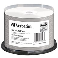 VERBATIM DataLifePlus CD-R 700MB, 52x, White Thermal Printable, Spindle 50pcs - Media