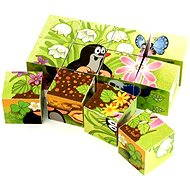 Dino wooden cubes cubus - The little mole and a bird - Picture Blocks