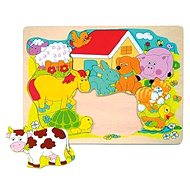Woody Puzzle on Board - Cheerful domestic animals - Puzzle