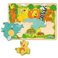 Woody Puzzle Board - Cheerful African Animals - Puzzle