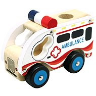 Bino Wooden Car Ambulance - Toy Vehicle