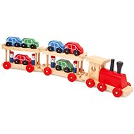 Wooden Train Engine Transporter and Cars Wagons - Train