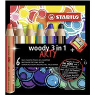 """Stabilo Colored pencils """"Woody ARTY 3 in 1"""", 6 different colours, round, thick, STABILO - Coloured Pencils"""