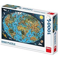 Cartoon World Map 1000 Puzzle New - Puzzle