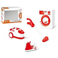 Set of household appliances with batteries (iron, washing machine, vacuum cleaner) - Toy