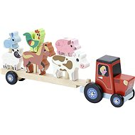 Vilac Wooden tractor with animals for mounting - Wooden Toy