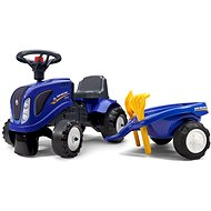 Ejector tractor New Holland blue with steering wheel and flatbed - Balance Bike/Ride-on