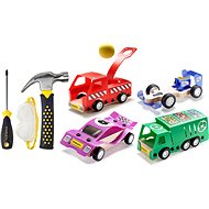 Stanley Jr. U001-K04-T03-SY Set of 4 toy cars, screwdriver and hammer. - Set