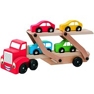 Woody Lorry with Car-carrying Trailer - Educational toy