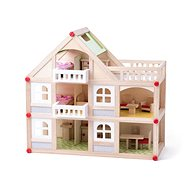 Woody Two-storey House with Balcony and Accessories - Dollhouse