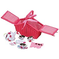 Small foot Pink Picnic Basket with Crockery - Children's toy dishes