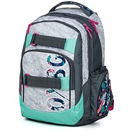 OXY Style Grey tropical - School Backpack