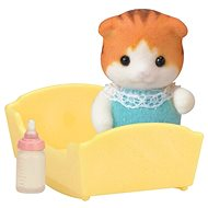 Sylvanian Families Maple Cat Baby in Cradle - Play set