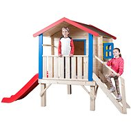Woody Garden house with a landing, a railing and a slide - Children's playhouse