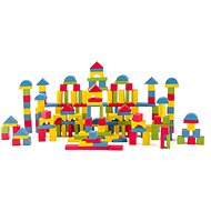Woody Building blocks natural/coloured, 200 pcs - Building Kit