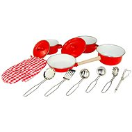 Woody Red Kitchen Pan and Utensils Set, 13 Pieces