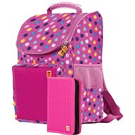 Pixie school bag and pencil case fuchsia with colored dots - School Bag
