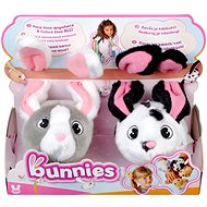 Bunnies Plush Rabbits with Magnets - Set of 2, Grey and White + Black and White - Plush Toy