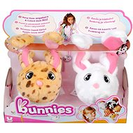 Bunnies Plush Rabbits with Magnets - Set of 2, White + Speckled Brown