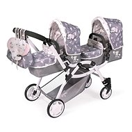 DeCuevas 80335 Collapsible Pram for Twin Dolls 3-in-1 with Backpack SKY 2020 - Doll Stroller