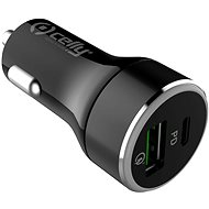 CELLY with USB-C and USB Qualcomm 3.0 port 42W max black - Car Charger
