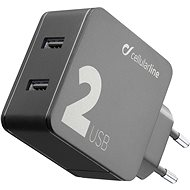 Cellularline Multipower 2 with Smartphone Detect 2 x USB port 24W, Black - Charger