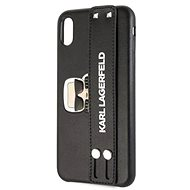 Karl Lagerfeld Head Hand Strap for iPhone XR, Black - Mobile Case