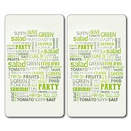 Kesper Set of 2 Glass Chopping Boards motif: salad 52x30cm - Chopping board