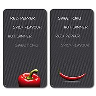 Kesper Multifunctional Glass Plate with Chili Motif, 2pcs, 52 x 30cm - Chopping board