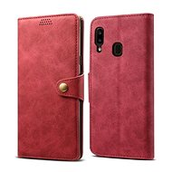 Lenuo Leather for Samsung Galaxy A20e, Red - Mobile Phone Case
