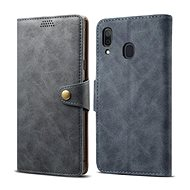 Lenuo Leather for Samsung Galaxy A30, Grey - Mobile Phone Case