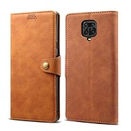 Lenuo Leather for Xiaomi Redmi Note 9 Pro/Note 9S, Brown - Mobile Phone Case