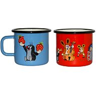 Set of 2 8cm Enamelled Metal Mugs, Red + Blue The Little Mole Design - Set