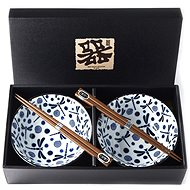 Made In Japan Blue Dragonfly Bowl Set with Chopsticks 500ml 2pcs