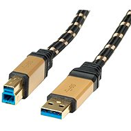 ROLINE Gold USB 3.0 SuperSpeed ??USB 3.0 A (M) -> USB 3.0 B (M), 0.8m - black/gold - Data cable
