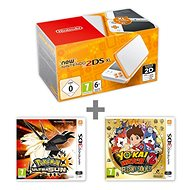 Nintendo NEW 2DS XL White & Orange + Pokémon Ultra Sun + YO-KAI WATCH 2 - Game Console