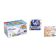 Nintendo NEW 2DS XL White & Levander Green + Tomodachi Life + Pokémon Moon + Teddy Together - Game Console