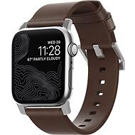 Nomad Leather Strap Brown, silver - Apple Watch 44/42 mm - Watch band