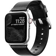Nomad Leather Strap Black Silver Apple Watch 40/38mm - Watch band