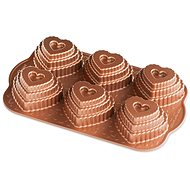 NW Conversation Heart Baking Pan with 6 Moulds, Copper