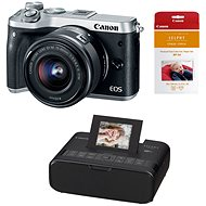 Canon EOS M6 silver + EF-M 15-45mm + Canon SELPHY CP1200 black + papers RP-54 - Digital Camera