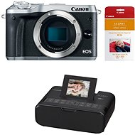 Canon EOS M6 body silver + Canon SELPHY CP1200 black + papers RP-54 - Digital Camera