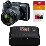 Canon EOS M6 black + EF-M 18-150mm + Canon SELPHY CP1200 black + papers RP-54 - Digital Camera