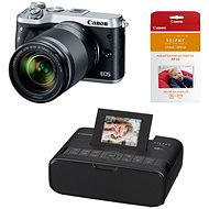 Canon EOS M6 silver + EF-M 18-150mm + Canon SELPHY CP1200 black + papers RP-54 - Digital Camera