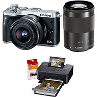 Canon EOS M6 silver + EF-M 15-45mm + 55-200mm + Canon SELPHY CP1200 black + papers RP-54 - Digital Camera