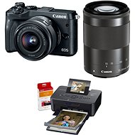 Canon EOS M6 black + EF-M 15-45mm + 55-200mm + Canon SELPHY CP1200 black + papers RP-54 - Digital Camera