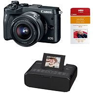 Canon EOS M6 black + EF-M 15-45mm + Canon SELPHY CP1200 black + papers RP-54 - Digital Camera
