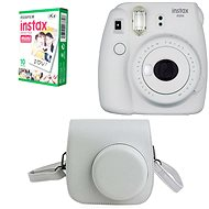 Fujifilm Instax Mini 9 White + 10x Photo Paper + Case - Instant Camera