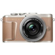Olympus PEN E-PL10, Brown + Pancake Zoom Kit 14-42mm, Silver - Digital Camera